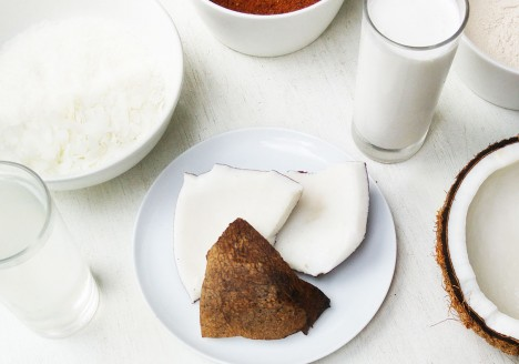 Coconut products such as coconut oil, coconut water, coconut milk, coconut flour, coconut sugar and coconut jelly