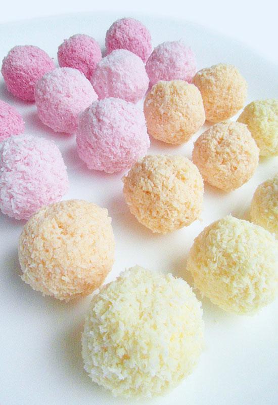 Vegan refined sugar-free unicorn coconut fruit bliss balls