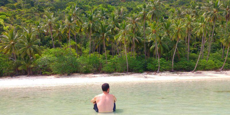 Beautiful deserted beach on the coconut island