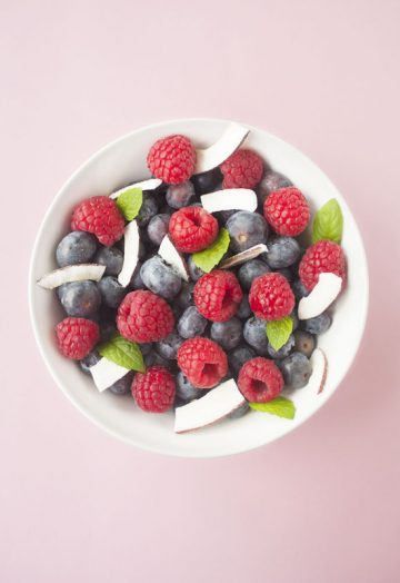 Berry coconut fruit salad