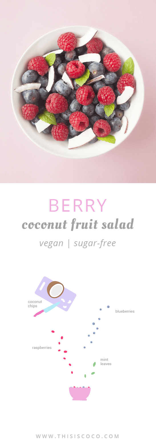 Alkaline berry coconut fruit salad