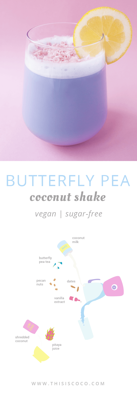 Butterfly pea coconut shake vegan and sugar free