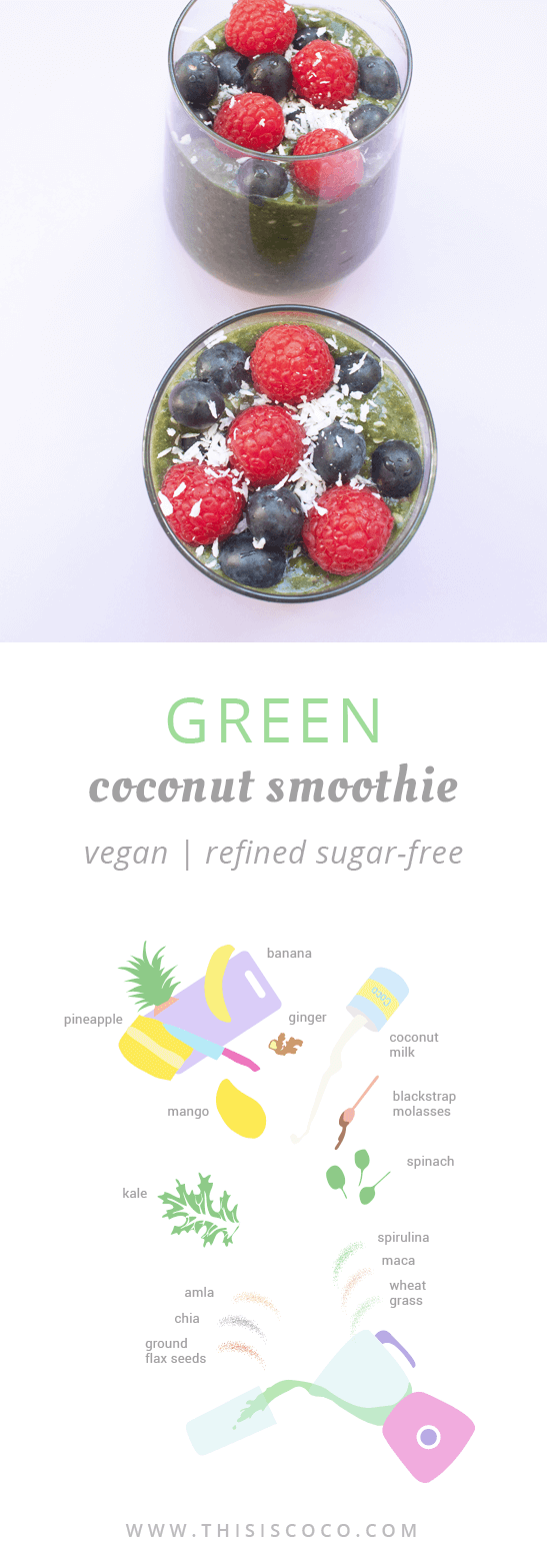 Green smoothie with coconut milk: an alkaline, vegan drink