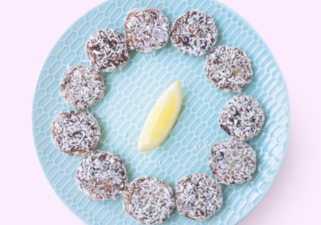 Lemon ginger date rounds with shredded coconut and brazil nuts
