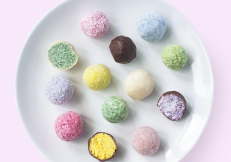 Pastel bounty balls with brown and white chocolate