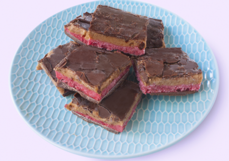 Raspberry caramel chocolate slices