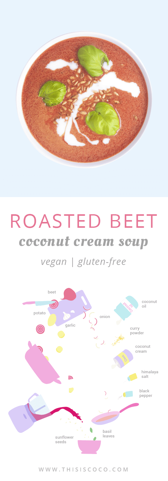Vegan roasted beet coconut cream soup
