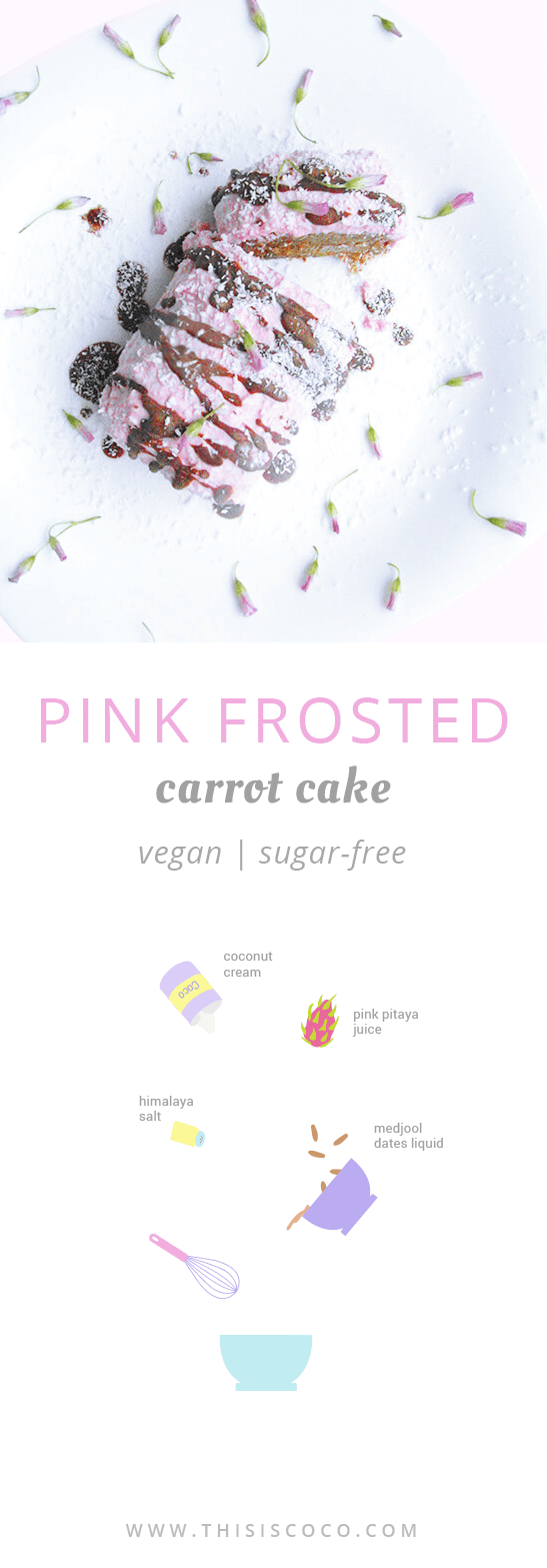 Sugar-free vegan pink frosted carrot cake
