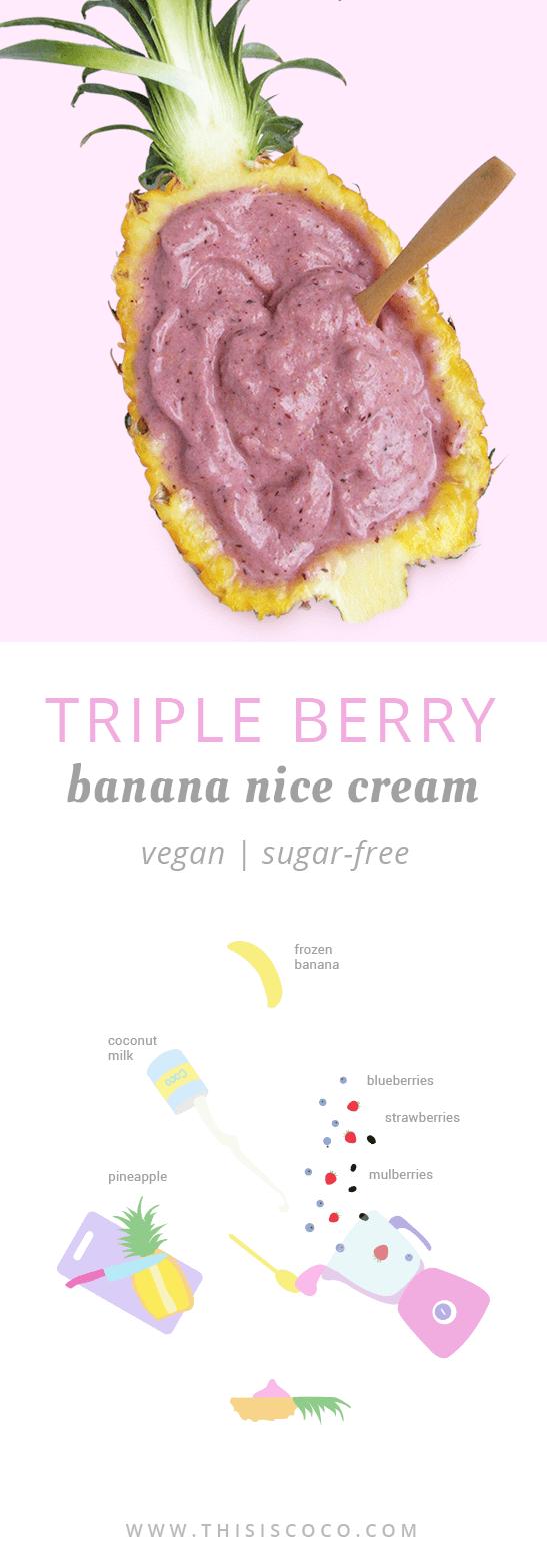 Vegan berry banana nice cream without sugar