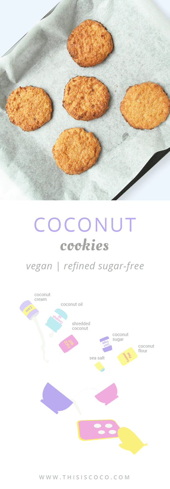 Vegan coconut cookies refined sugar free and dairy free