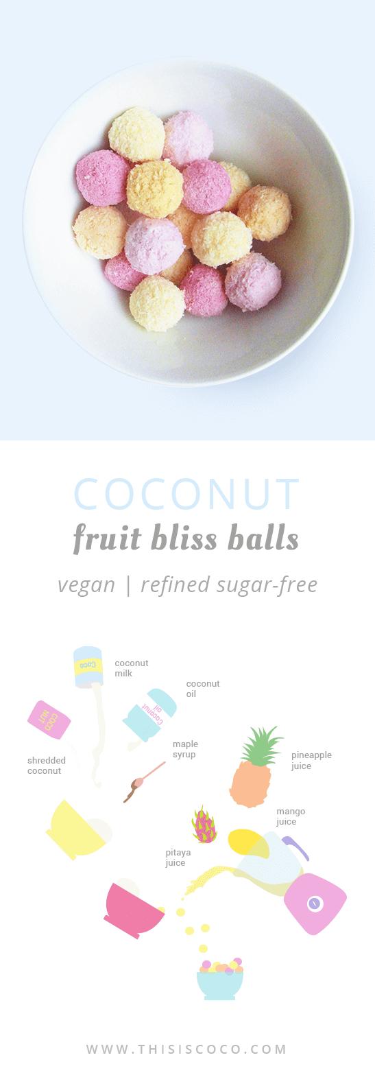 Vegan unicorn coconut fruit bliss balls