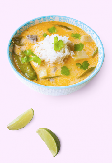 Vegan coconut lemongrass soup