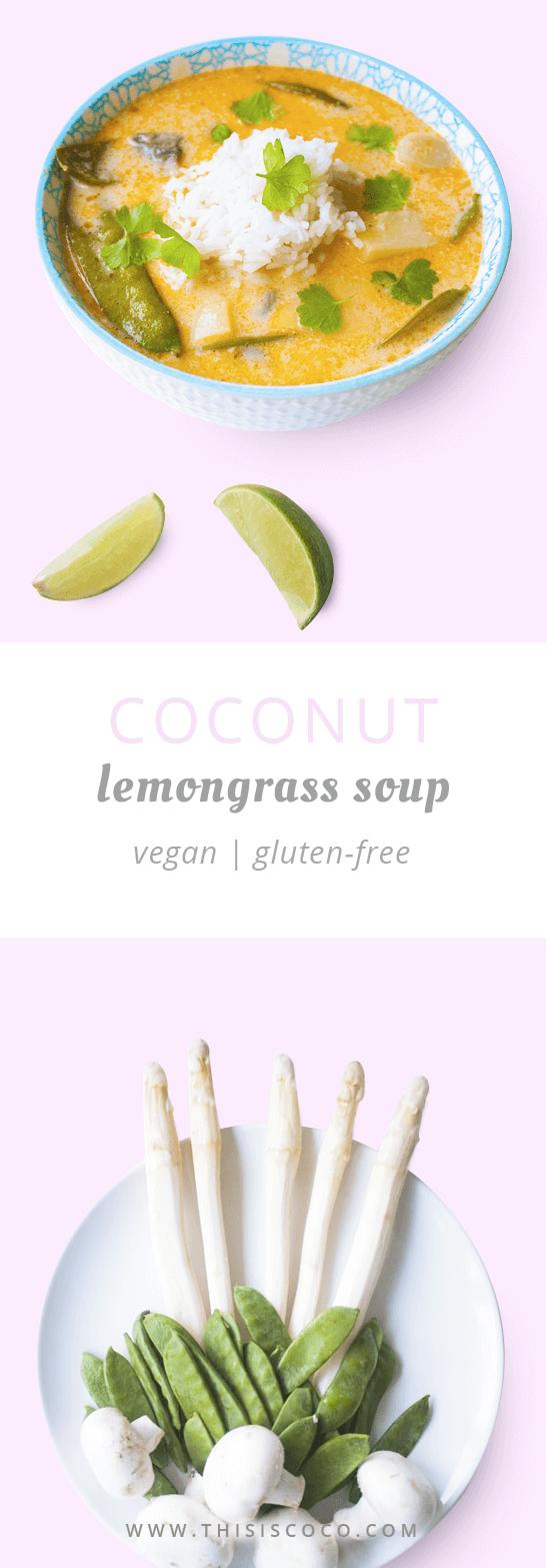 Vegan coconut lemongrass soup with mushrooms