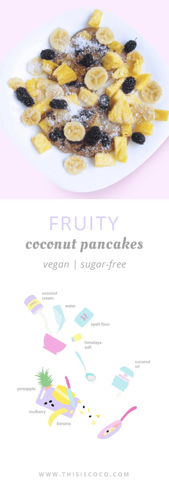 Vegan fruity coconut pancakes
