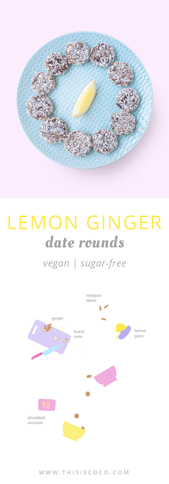 Vegan sugar-free lemon ginger date rounds