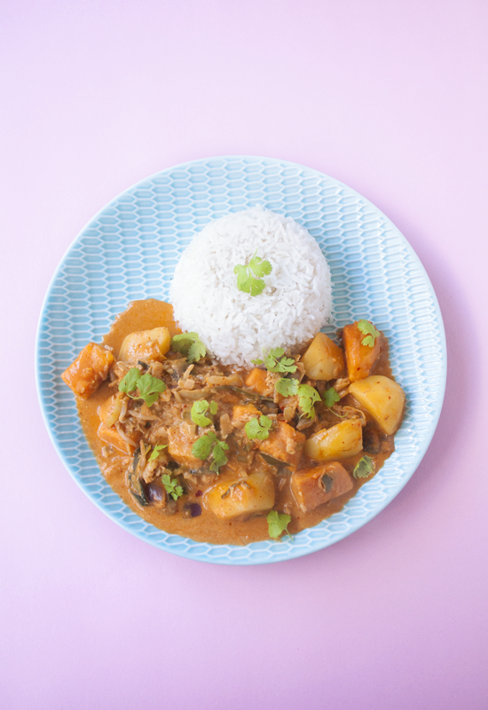 Vegan Massaman curry with sweet potatoes