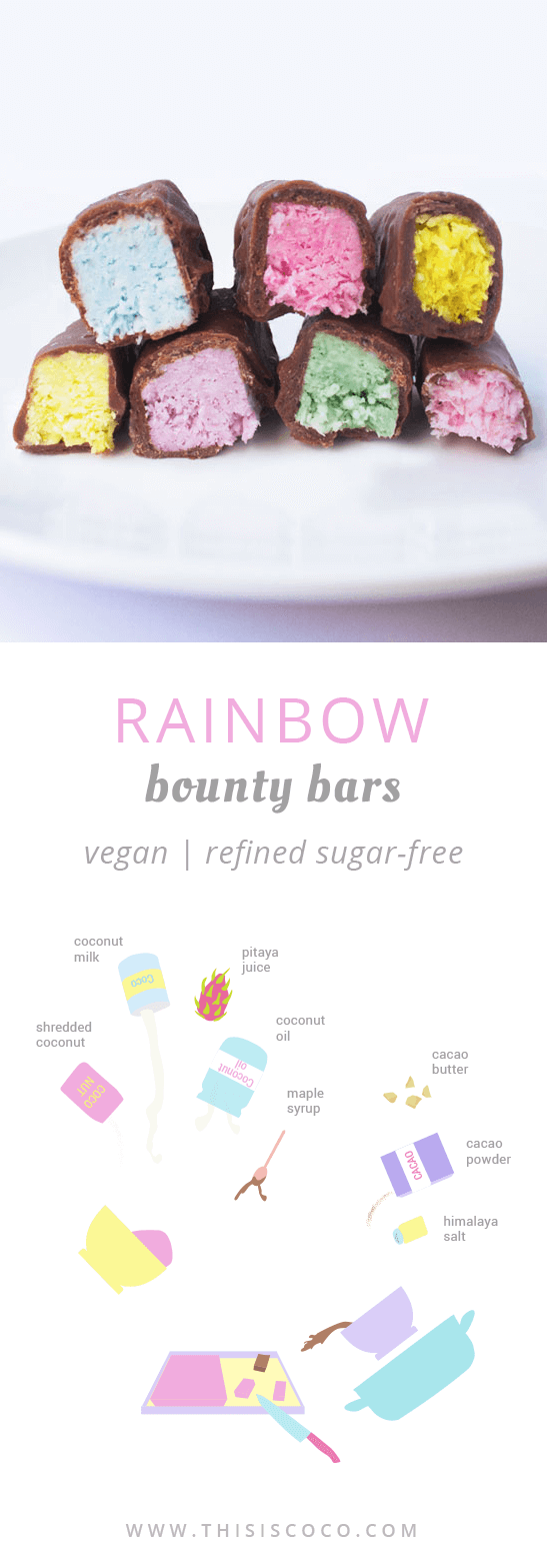 Vegan rainbow bounty bars unicorn treats with natural food coloring