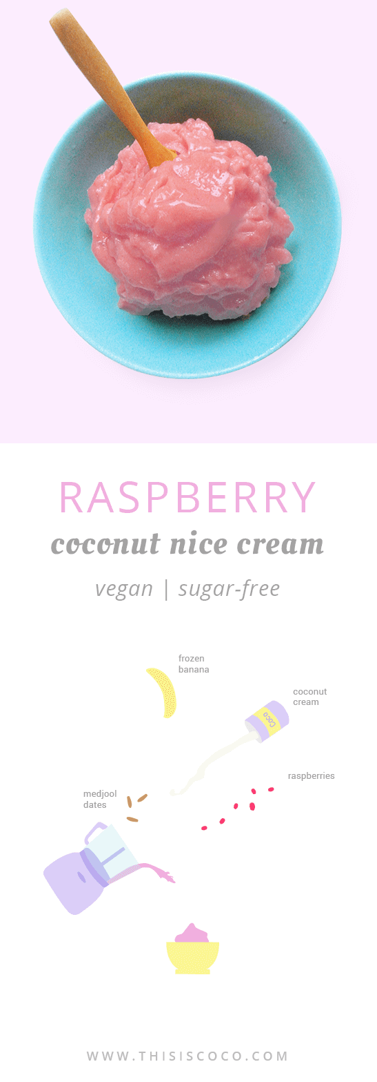 Vegan raspberry coconut nice cream - sugar-free!