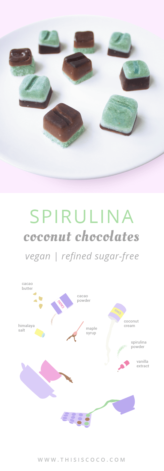Vegan spirulina coconut chocolates