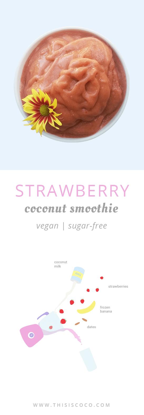 Vegan strawberry coconut smoothie