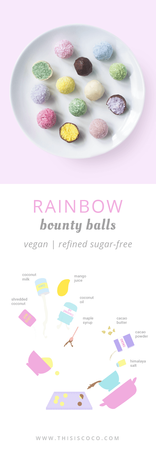 Vegan rainbow bounty balls unicorn bliss balls
