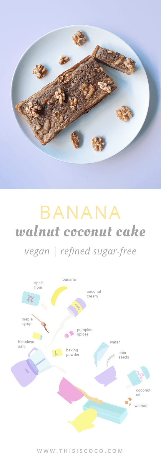 Vegan banana walnut coconut cake