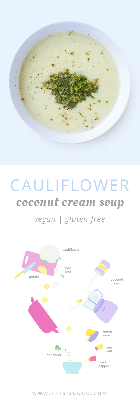 Vegan cauliflower coconut cream soup
