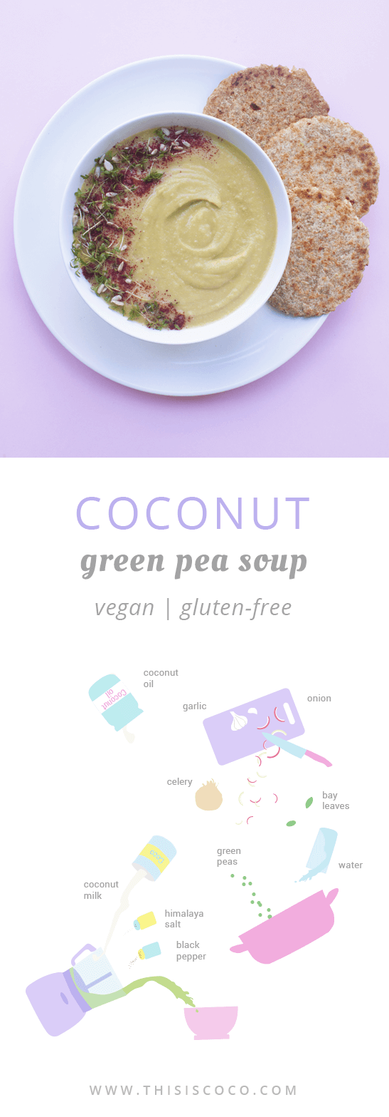 Vegan coconut cream green pea soup