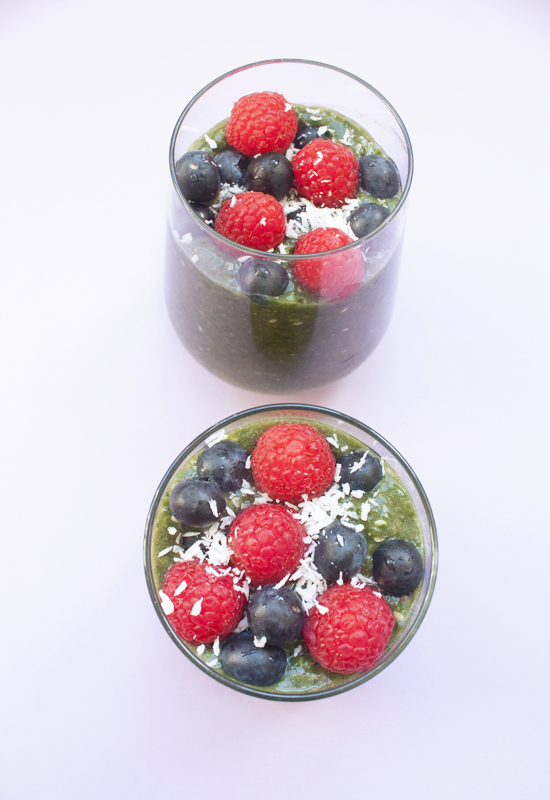 Healthy antioxidant green super smoothie with coconut milk