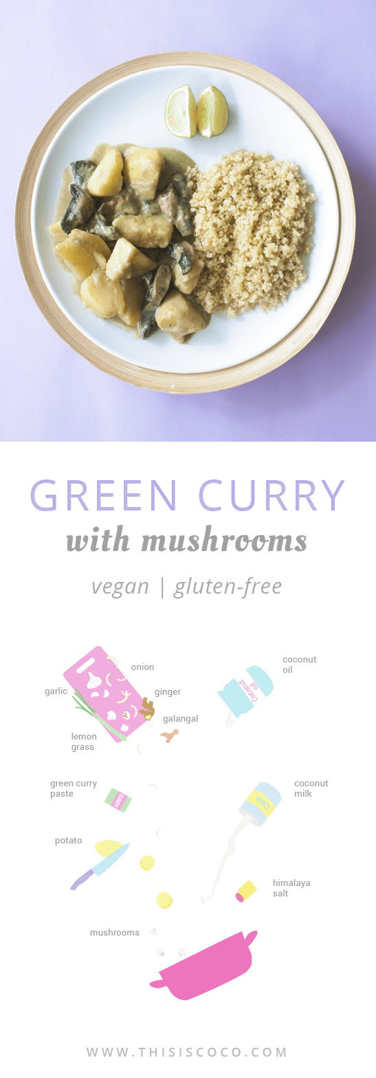 Vegan green curry with mushrooms