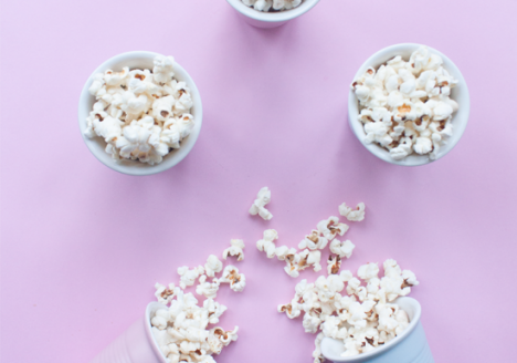 Homemade organic popcorn with coconut oil