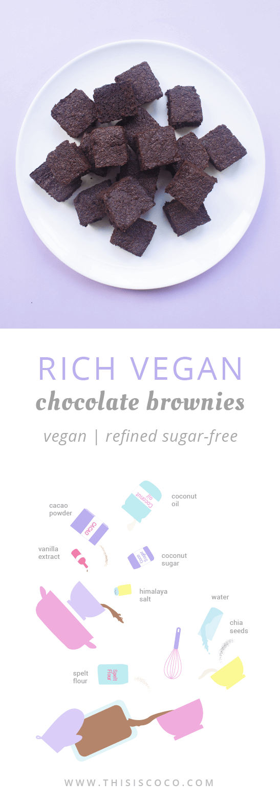 Vegan chocolate brownies with coconut sugar
