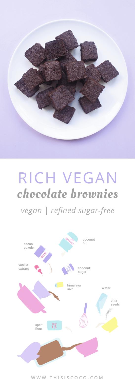 Vegan chocolate brownies with coconut sugar