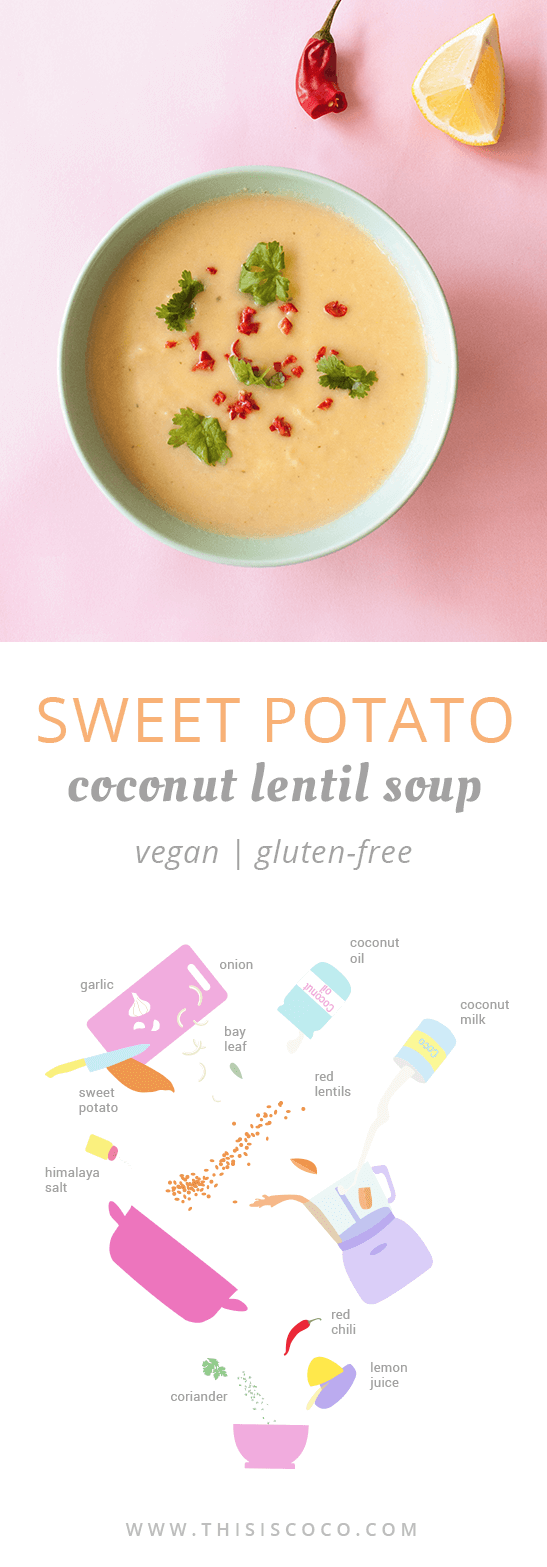 Vegan sweet potato and coconut lentil soup