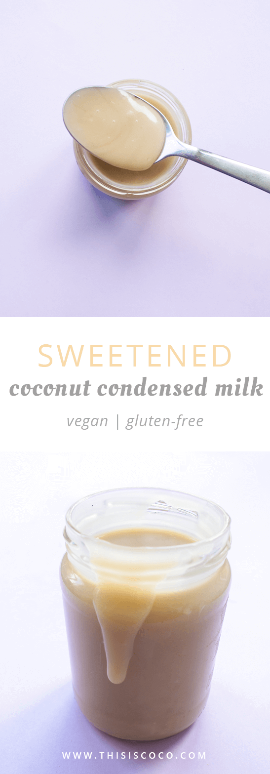 Vegan sweetened coconut condensed milk