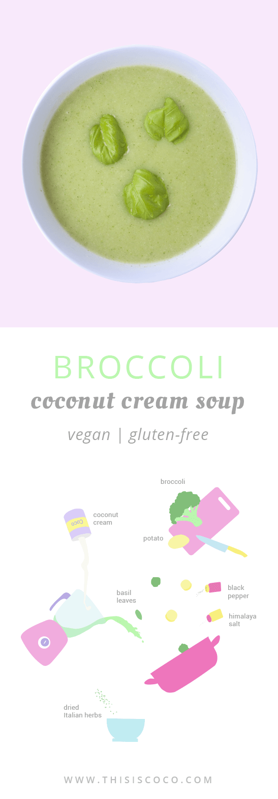 Vegan broccoli coconut cream soup