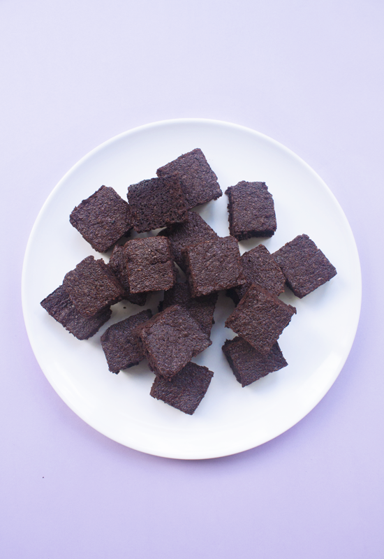 Healthy rich vegan refined sugar-free chocolate brownies with coconut sugar