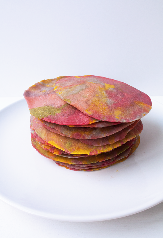 Rainbow unicorn tortillas made with natural food coloring