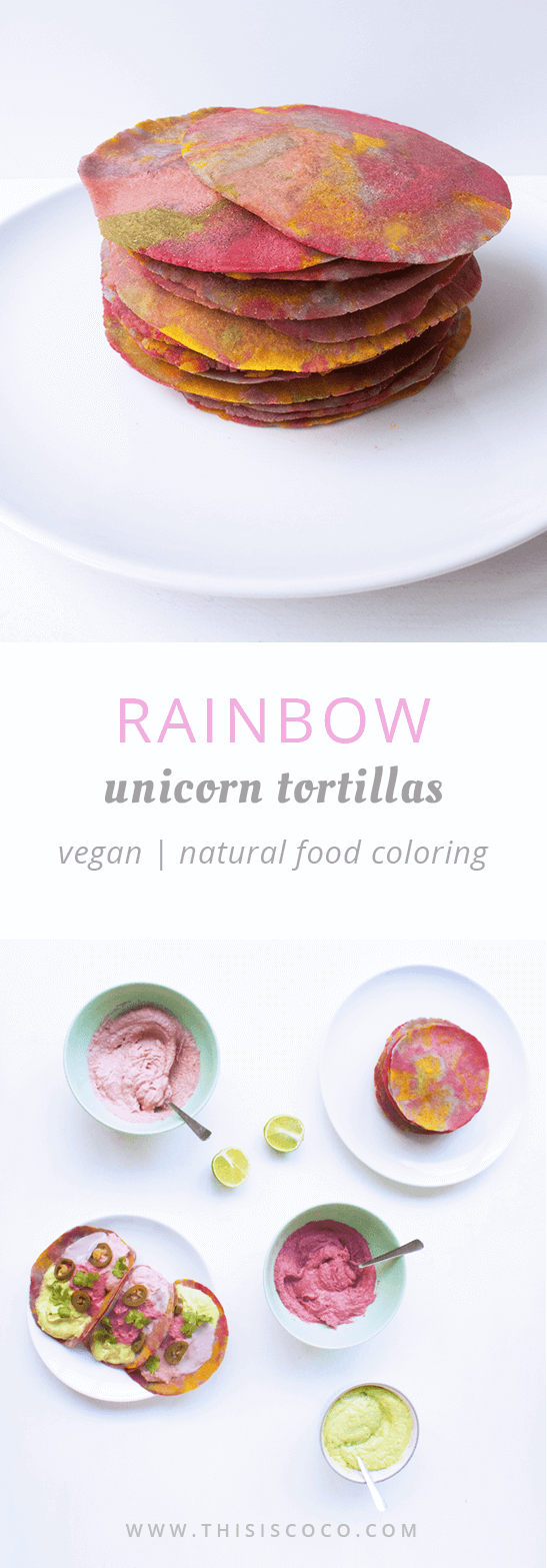 Vegan rainbow tortillas to make unicorn tacos