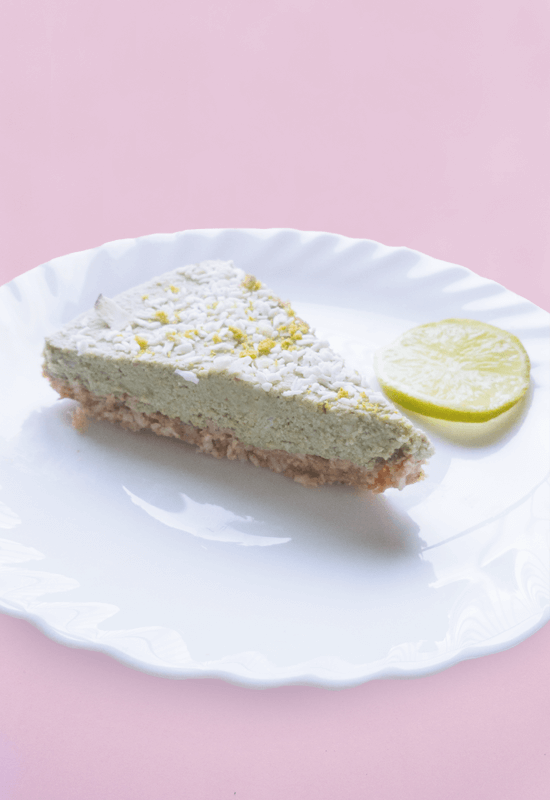Vegan raw lime coconut cheesecake sweetened with dates